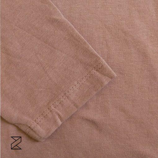 بلوز آستین بلند زنانه پنبهای چاپ موزی شکلاتی رنگ